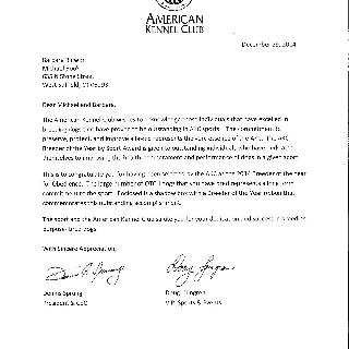 AKC Letter acknowledging Breeder of the Year in Obedience for 2014